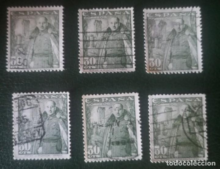 6 SELLOS USADOS DE ESPAÑA DE 1948- GENERAL FRANCO Y CASTILLO DE LA MOTA 30 CTS (Sellos - España - Estado Español - De 1.936 a 1.949 - Usados)