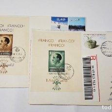 Sellos: 2 CERTIFICADOS INTERNACIONALES CON ESPECTACULAR FRANQUEO FILATÉLICO.HOJITAS DE FRANCO.. Lote 277233278