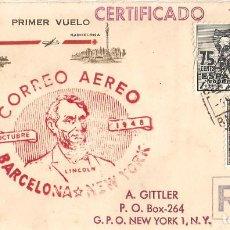 """Sellos: SOBRE CONMEMORATIVO, ''OCTUBRE-1948: CORREO AÉREO BARCELONA-NUEVA YORK""""./ 5-11-1948./ FOTO.. Lote 277714483"""