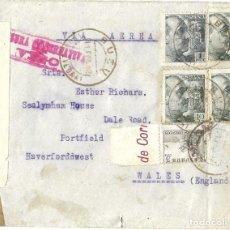 Sellos: 1942 (2ª GUERRA MUNDIAL) CARTA BUEU PONTEVEDRA A GALES. CENSURA VIGO. AMBULANTE. Lote 278834408