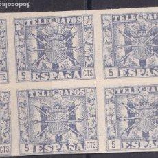 Sellos: FC3-176- TELEGRAFOS BLOQUE DE 4 SIN DENTAR AZUL/ AZUL OSCURO (*) .PAPEL CARTULINA. Lote 286921738