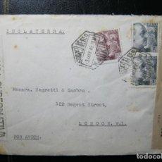Sellos: ESPAÑA CARTA MADRID-LONDRES 3/3/1945 DOBLE CENSURA GOBERNATIVA E INGLESA EXCELENTE!!!. Lote 287102813