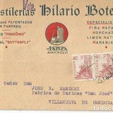 Timbres: TARJETA POSTAL DESTILERÍAS HILARIO BOTELLA JATIVA. VALENCIA EL CID 10TS. PAREJA CÓRDOBA 1943. Lote 287350803