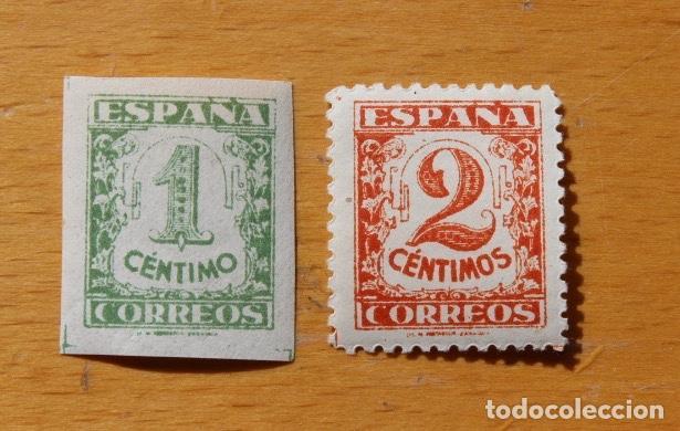 ESPAÑA 1937 JUNTA DEFENSA NACIONAL 2 SELLOS CIFRAS 1 CÉNTIMO VERDE 2 CÉNTIMOS CASTAÑO (Sellos - España - Estado Español - De 1.936 a 1.949 - Nuevos)