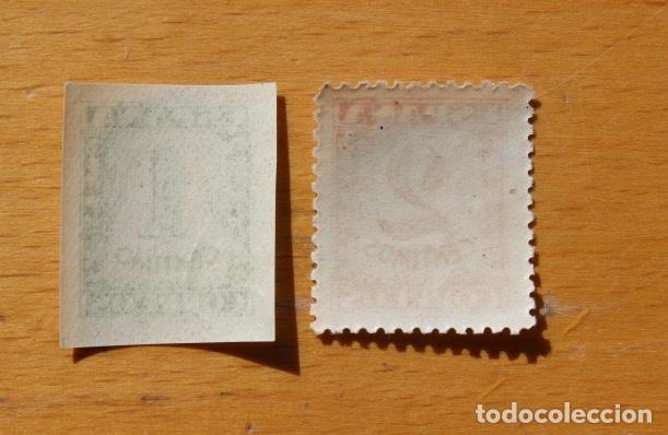 Sellos: España 1937 Junta defensa nacional 2 sellos Cifras 1 céntimo verde 2 céntimos castaño - Foto 2 - 288535248