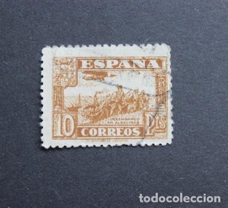 ESPAÑA 1937 JUNTA DEFENSA NACIONAL SELLO 10 PESETAS DESEMBARCO EN ALGECIRAS (Sellos - España - Estado Español - De 1.936 a 1.949 - Usados)
