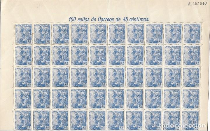 SELLOS DE ESPAÑA AÑO 1940 GENERAL FRANCO , PLIEGO 100 SELLOS NUEVOS** (Sellos - España - Estado Español - De 1.936 a 1.949 - Nuevos)