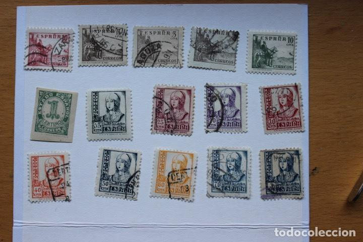 LOTE 15 SELLOS DIFERENTES ESPAÑA 1937-1939 CIFRAS, CID E ISABEL (Sellos - España - Estado Español - De 1.936 a 1.949 - Usados)