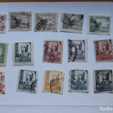 Sellos: LOTE 15 SELLOS DIFERENTES ESPAÑA 1937-1939 CIFRAS, CID E ISABEL. Lote 288555688