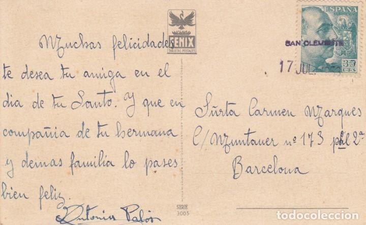 CARTERÍA DE SAN CLEMENTE (CUENCA) - 1953 SOBRE POSTAL (Sellos - España - Estado Español - De 1.936 a 1.949 - Cartas)