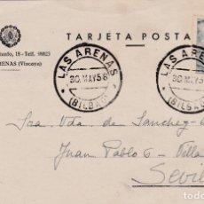 Sellos: TARJETA DE LAS ARENAS ( BILBAO ) A SEVILLA, CON MATASELLOS FECHADOR DE 1958. Lote 289237603