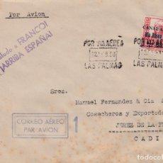 Sellos: CARTA DE LAS PALMAS A JEREZ CON SELLOS CANARIAS 50 MATASELLO VIA AEREA. Lote 289328803