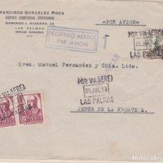 Sellos: CARTA DE LAS PALMAS A JEREZ CON SELLOS 822 Y CANARIAS 45 MATASELLO VIA AEREA. Lote 289328993