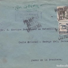 Sellos: CARTA DE LAS PALMAS A JEREZ CON SELLOS 825 Y CANARIAS 45 MATASELLO VIA AEREA. Lote 289329258