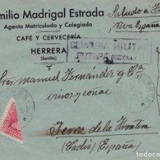Sellos: CARTA DE HERRERA A JEREZ CON SELLOS 857 BISECTADO Y CENSURA DE ESTEPA. Lote 289329698