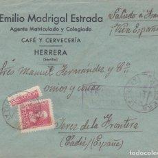 Sellos: CARTA DE HERRERA A JEREZ CON SELLOS 857 Y TRISECTADO Y CENSURA DE ESTEPA. Lote 289329993