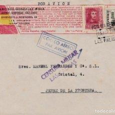 Sellos: CARTA DE LAS PALMAS A JEREZ CON SELLOS 844 Y CANARIAS 45 Y CENSURA. Lote 289330593