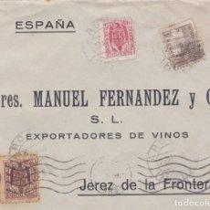 Sellos: CARTA DE AROCHE A JEREZ, CON SELLO 816B Y MOVILES 102 Y 105 ( FRANQUEO DE EMERGENCIA ). Lote 289330903