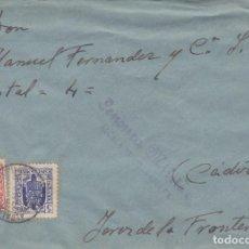 Sellos: CARTA DE ALCALA DE LOS GAZULES A JEREZ CON FRANQUEO DE EMERGENCIA Y RARA CENSURA. Lote 289331663