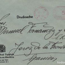Sellos: CARTA DE FRANKFORT A JEREZ DE LA CAMARA DE COMERCIO EN ALEMANIA Y FRANQUEO MECANICO. Lote 289332238