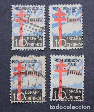 LOTE 4 SELLOS AÑO 1938 PRO TUBERCULOSOS CRUZ DE LORENA Y SANATORIO NÚMERO 866 EDIFIL (Sellos - España - Estado Español - De 1.936 a 1.949 - Usados)
