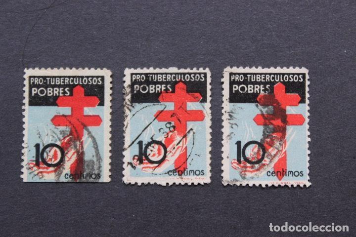 LOTE 3 SELLOS USADOS CRUZ DE LORENA Y MANO TENDIDA PRO TUBERCULOSOS AÑO 1937 (Sellos - España - Estado Español - De 1.936 a 1.949 - Usados)