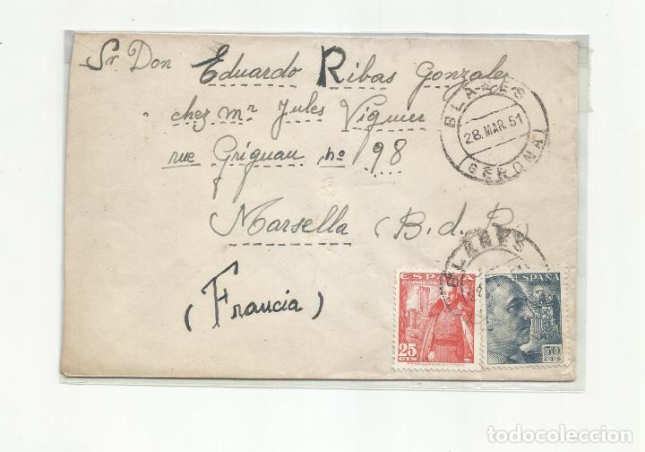 CIRCULADA 1951 DE BLANES GIRONA GERONA A MARSEILLE FRANCIA (Sellos - España - Estado Español - De 1.936 a 1.949 - Cartas)