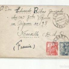 Sellos: CIRCULADA 1951 DE BLANES GIRONA GERONA A MARSEILLE FRANCIA. Lote 289542343