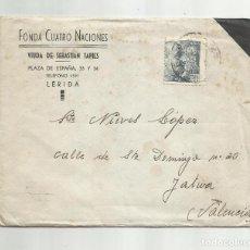Sellos: CIRCULADA 1947 DE FONDA 4 NACIONES DE LERIDA A XATIVA VALENCIA. Lote 289611698