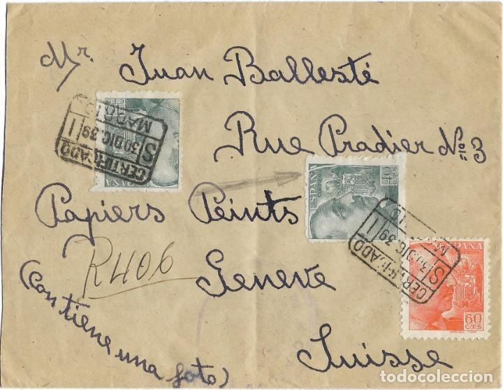 1939 CARTA CERTIFICADO MADRID A SUIZA (Sellos - España - Estado Español - De 1.936 a 1.949 - Cartas)