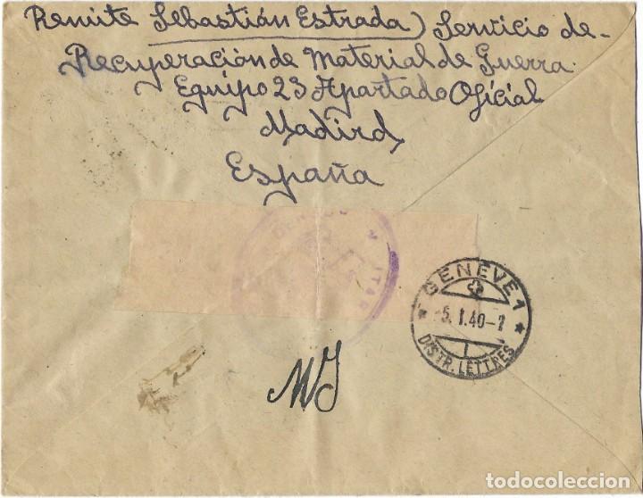 Sellos: 1939 CARTA CERTIFICADO MADRID A SUIZA - Foto 2 - 289761508