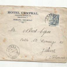 Sellos: CIRCULADA 1947 HOTEL CENTRAL DE TOTANA MURCIA A XATIVA VALENCIA. Lote 289776233