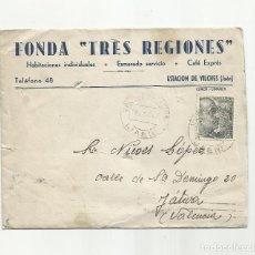 Sellos: CIRCULADA 1945 DE FONDA TRES REGIONES ESTACION VILCHES JAEN A XATIVA VALENCIA. Lote 289776503