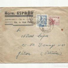 Sellos: CIRCULADA 1945 DE HOTEL ESPAÑA LORCA MURCIA A XATIVA VALENCIA. Lote 289776618