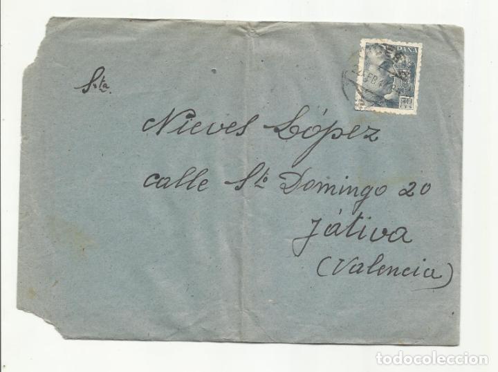 CIRCULADA 1947 DE GRAN HOTEL PIRINEOS HUESCA A XATIVA VALENCIA (Sellos - España - Estado Español - De 1.936 a 1.949 - Cartas)