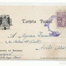 Francobolli: CIRCULADA 1945 DE CORTES DE ARAGON A AVILES ASTURIAS. Lote 293619593