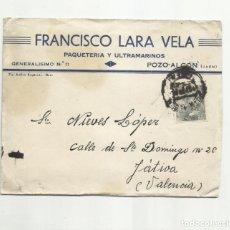 Sellos: CIRCULADA 1945 DE POZO ALCON JAEN A XATIVA JATIVA VALENCIA. Lote 293926208