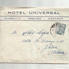 Sellos: CIRCULADA 1947 DE HOTEL UNIVERSAL DE GRANADA A XATIVA JATIVA VALENCIA. Lote 293926423