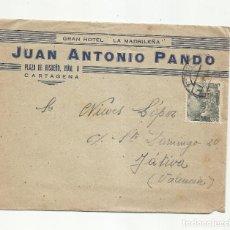 Sellos: CIRCULADA 1945 DE HOTEL LA MADRILEÑA DE CARTAGENA MURCIA A XATIVA JATIVA VALENCIA. Lote 293926608