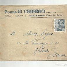 Sellos: CIRCULADA 1947 DE FONDA EL CANARIO DE GUADIX GRANADA A XATIVA JATIVA VALENCIA. Lote 293926883