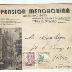 Sellos: CIRCULADA 1945 DE PENSION MENORQUINA PALMA BALEARES A XATIVA JATIVA VALENCIA. Lote 295027748