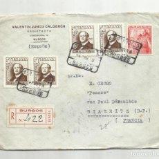 Sellos: CIRCULADA 1948 DE BURGOS BIARRITZ FRANCIA. Lote 295041368