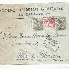 Sellos: CIRCULADA 1952 DE DE LA OROTAVA A GUIMAR. Lote 295617423