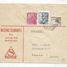 Sellos: CIRCULADA 1949 DE BARCELONA A BASEL SUIZA. Lote 295617813
