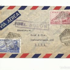 Sellos: CIRCULADA 1946 DE MADRID A BIEL SUIZA. Lote 295627523