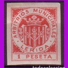 Sellos: TIMBRE MUNICIPAL LÉRIDA 1 PTA ROJO SIN DENTAR *. Lote 295734578