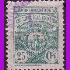 Sellos: TIMBRE MUNICIPAL CHICLANA DE LA FRONTERA, CÁDIZ, 25 CTS. VERDE (O). Lote 295734758
