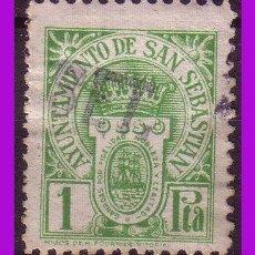 Sellos: TIMBRE MUNICIPAL SAN SEBASTIÁN, 1 PTA. VERDE AMARILLENTO (O). Lote 295734883