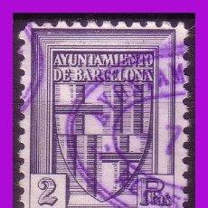 Sellos: TIMBRE MUNICIPAL BARCELONA, 2 PTAS VIOLETA-GRISÁCEO (O). Lote 295739438
