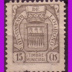 Sellos: TIMBRE MUNICIPAL LOGROÑO, 15 CTS VERDE GRIS (*). Lote 295739748